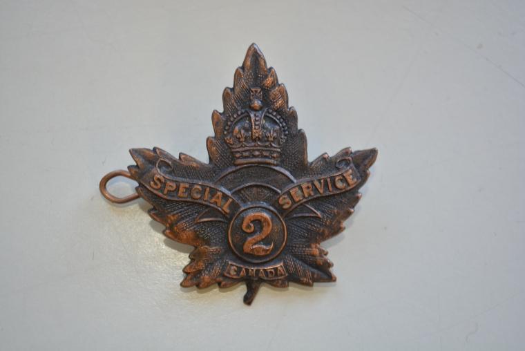 [Cap badge, No. 2 Special Service Company] 2015.03.17.00001 Gift of Dr. Desmond Morton, McGill University.