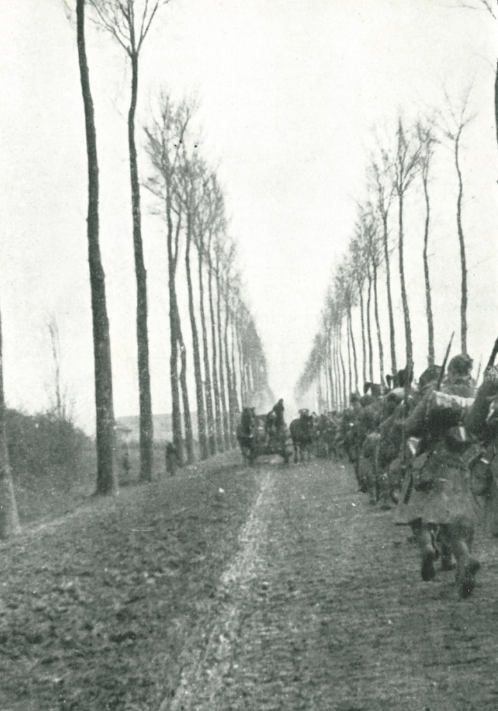 "The famous road to Ypres [c1915]. From ""The Red Watch"" with the First Canadian Division in Flanders by Col. J.A. Currie, 1916."