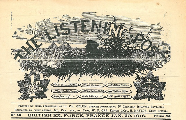 The Listening Post, No. 10 Jan. 20, 1916. [France: 7th Canadian Infantry Battalion 1915-1919]. Leader image. Collections CCGW/CCGG.