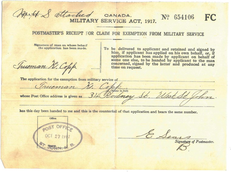 Postmaster's receipt for claim for exemption from military service. [1917]. Collections CCGW/CCGG 2016.03.04.01