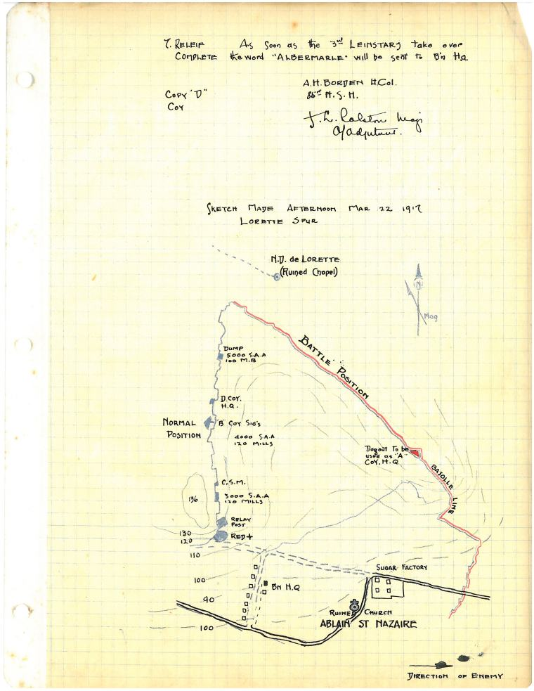 Sketch made afternoon Mar 22 1917 |Lorette Spur [map, 1917] R.R.Layte Fonds. Collections CCGW/CCGG 2015.05.13.06