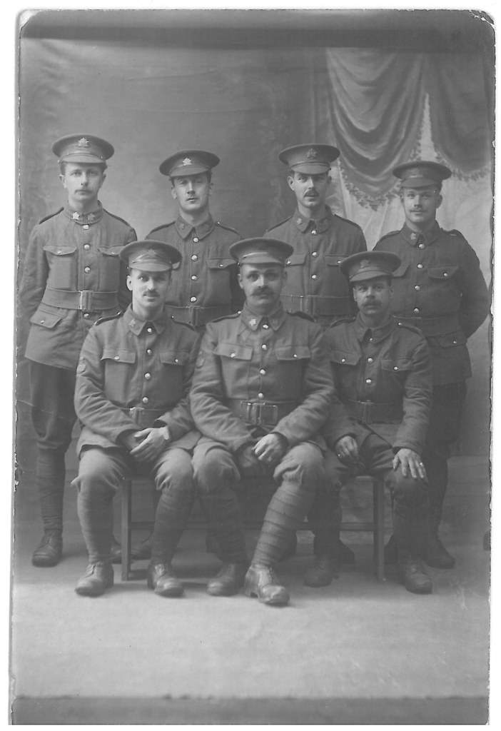 """[Unknown Canadian infantry unit ]"""" T. McBryde, W. Bolicut, G. Fear, """"Me"""" H. Tucker, """"Old Bob"""", J. Morris, """"Jeff""""