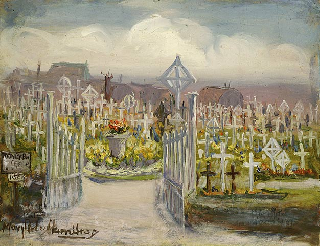 Menin Road, British Cemetary, oil on paper, c1920. Mary Riter Hamilton. Library and Archives Canada, Acc. No. 1988-180-110.