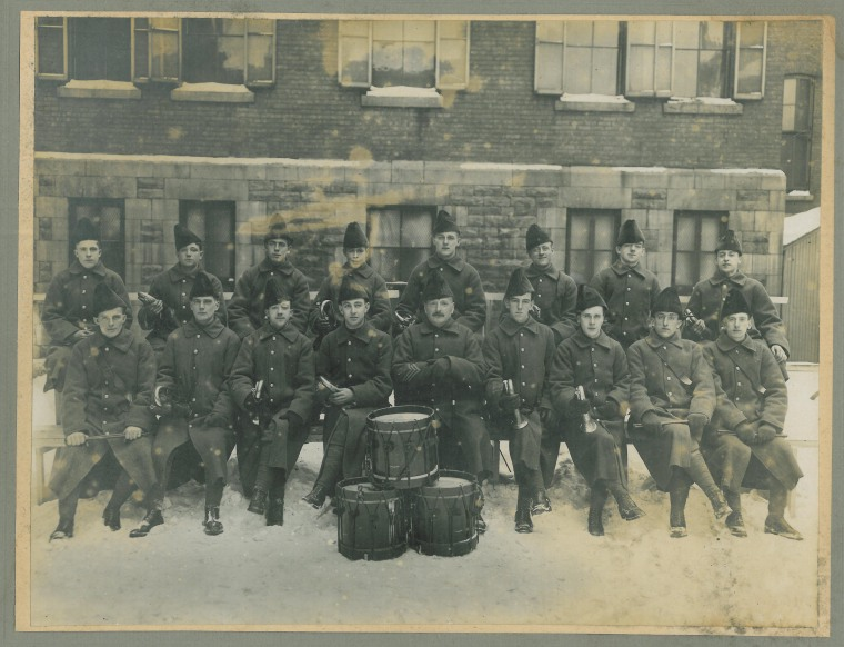 24th Battalion Band, c1914 [Pte. Clarence Booth is in the front row, far left]. Clarence Booth Collection, 2015.04.07.02