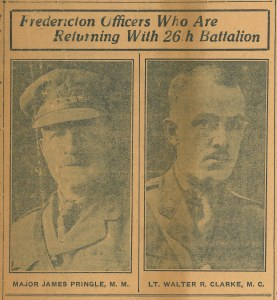 """Fredericton Officers Who are Returing with 26th Battalion "", The Daily Gleaner, Friday, May 16, 1919. [Fredericton, NB]. Collections CCGW/CCGG."