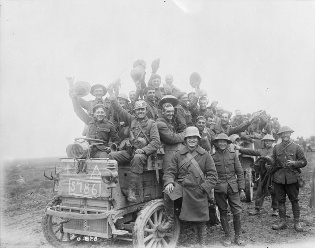 Canadians returning victorious from battle of Courcelette.