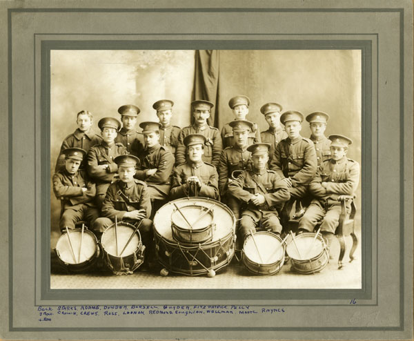 [Newfoundland] Regiment Drum and Bugle Band. [1916-1917] Courtesy The Rooms Provincial Archives Division,  MG702, Item B 1-138.