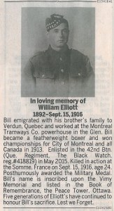 In loving memory of William Elliott | 1892-Sept.15 1916. Montreal Gazette, 17 September 2016.