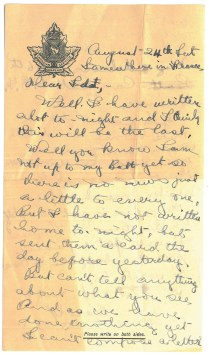 Pte Robert Harold Johnston to Mrs. R.M. Sutherland, August 24 [1918]. Johnston died of wounds 1 month later at the Battle of the Canal-du-nord.
