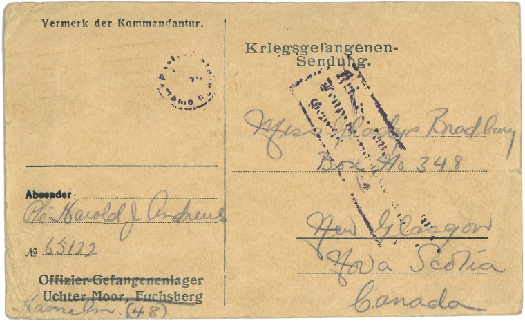 """Kriegsgefangenen-Sendung"" [Prisoner of War Postcard], Harold Andrews to Gladys Bradbury, 1918. Collections CCGW/CCGG 2015.02.20.01-13r"